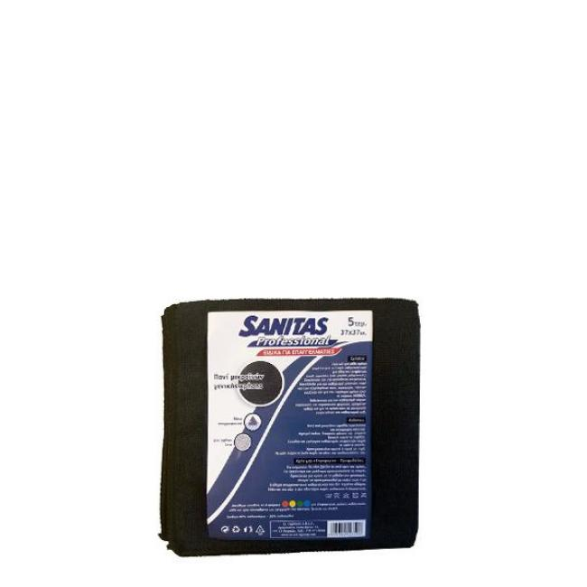 ΠΑΝΙ ΚΑΘΑΡΙΣΜΟΥ MICROFIBRE ΜΑΥΡΟ SANITAS 5 ΤΕΜ / 37*37 εκ